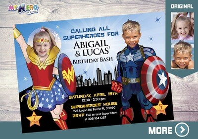 Wonder Woman and Captain America Invitation. Superheroes Siblings Party. Joint Captain America and Wonder Woman Party. Super Siblings. 082