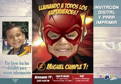 Flash Invitación de Cumpleaños. Invitación de Flash. Fiesta Tema Flash. Fiesta Liga de la Justicia. Decoración Flash. Flash Torta. 084SP