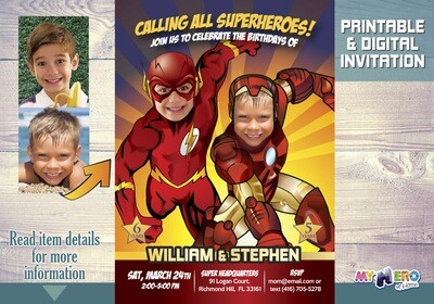 Flash and Ironman Birthday Party Invitations. Turn your boys into Superheroes. Joint Superheroes Party Ideas. Ironman and Flash Party. 159