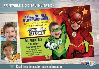 Flash and Green Lantern Invitation. Justice League Siblings Party. Joint Superheroes Birthday Ideas. Flash and Green Lantern Birthday. 165