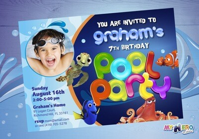 Finding Dory Pool Party Invitation. Pool Party themed Finding Dory. 046