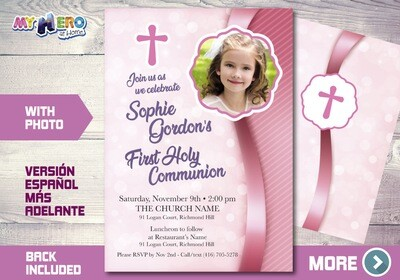 First Communion Invitation for Girls. 1st Communion Invitation. 384