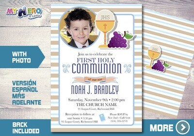 Boy First Communion Invitation. 1st Communion Invitation. 381
