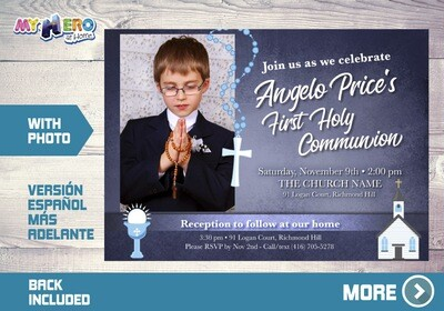 First Communion Invitation for Boys. 1st Communion Invitation. 382