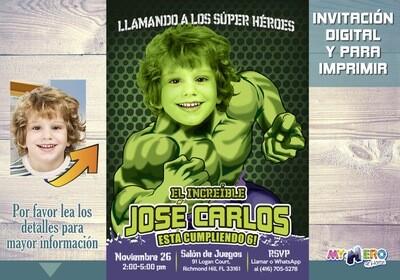 Hulk Invitación de Cumpleaños. Convierta a su niño en Hulk. Invitación Fiesta Hulk. Ideas Fiesta Hulk. Ideas super héroes. 089SP
