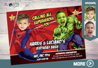 Spiderman and Hulk Invitation. Hulk and Spiderman Birthday. Joint Avengers Party. Superheroes Siblings Party Ideas. Avengers Siblings. 093