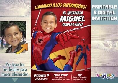 Invitación de Hombre Araña. Cumpleaños Spiderman. Ideas Fiesta tema Spiderman. Fiesta tema Hombre Araña. Spiderman Invitación. 135