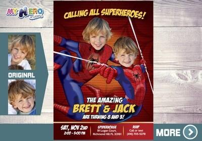 Spider-Man Siblings Invitation. Spiderman Brothers Invitation. Spiderman Siblings Birthday. Joint Spiderman Birthday. 2 Spiderman Party. 106