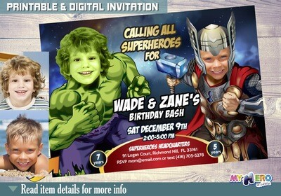 Thor and Hulk Invitation. Thor and Hulk Birthday. Thor and Hulk Party Ideas. Joint Avengers Party. Siblings Avengers Party. Hulk & Thor. 156