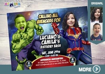 Hulk and Captain Marvel Birthday Invitation. Hulk and Captain Marvel Party Ideas. Joint Avengers Party Invitation. Avengers Endgame. 256