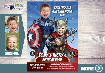 Captain America and Thor Birthday Invitation. Thor and Captain America Party. Avengers Endgame Party Ideas. Avengers Siblings Party. 240