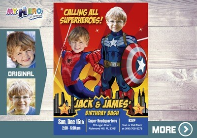 Spiderman and Captain America Invitation. Superheroes Siblings Invitation. Avengers Siblings Party. Joint Avengers Birthday. 197