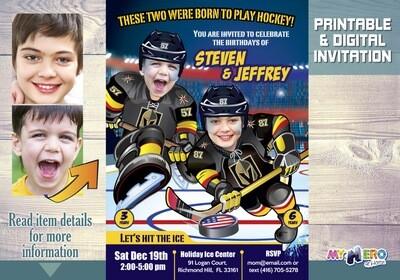 Golden Knights Siblings Invitation. Joint Hockey Birthday Invitation. 329