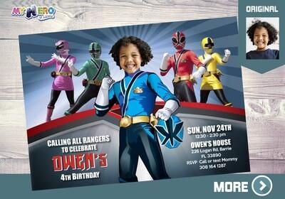 Blue Power Rangers Party Invitation. Power Rangers Party Ideas. 216