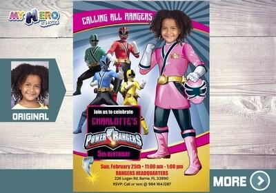 Pink Power Ranger Invitation. Girl Power Rangers Party. 396