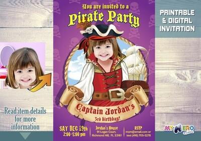 Girl Pirate Invitation. Pirate Invitation for Girls. 226