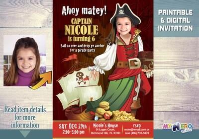 Pirate Birthday Invitation for Girls. Girl Pirate Invitation. 228