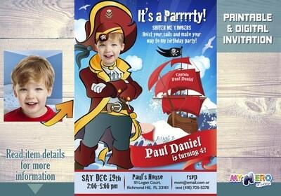 Pirate Birthday Invitation. Pirates theme party. 229
