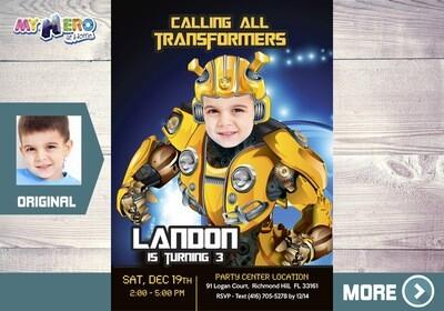 Transformers Birthday Invitation. Bumblebee Party Invitation. 292