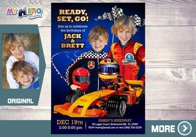 Joint Race Car Party Ideas. Siblings Race Car Invitation. Race Car Birthday for 2. Sports Car Birthday Ideas. Joint Race Car Invitation. 316