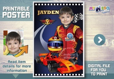 Race Car Custom Poster. Formula One Poster. Grand Prix Race Poster. Your child as a Racecar Driver to be the star of his poster. 375