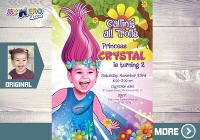 Trolls Invitation. Turn your girl into Princess Poppy. Princess Poppy Invitation. Trolls Birthday. Trolls Party. Princess Poppy Party. 201