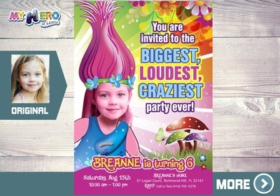 Trolls Invitation. Biggest, loudest, craziest Party. Princess Poppy Invitation. Trolls Birthday. Trolls Party. Princess Poppy Party. 202