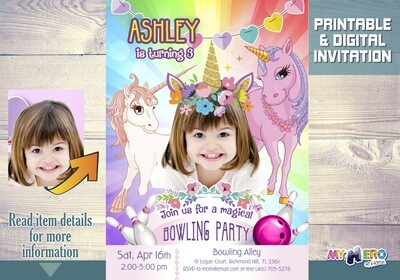 Unicorn Bowling Invitation. Bowling party Unicorn-themed. Girly Bowling Party Ideas. Unicorn Party Idea. Birthday Bowling Unicorn theme. 287