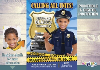 Policeman Invitation. Police Officer Party Ideas. Police theme party. 233