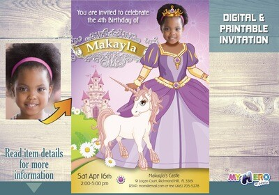 Unique Princess Birthday Invitation with your girl as the Princess of her own magical kingdom. Princess Party Ideas. Unicorn Ideas. 243