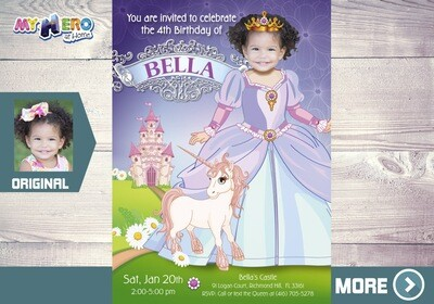 Princess Birthday Invitation. Princess Party Ideas. No Disney Princess Party. Princess Photo Invitation. Unicorn Princess party. 241