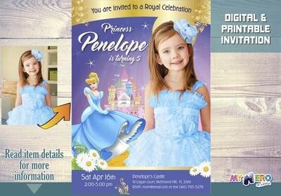 Cinderella Invitation. Cinderella Photo Invitation. Cinderella Birthday Ideas. Cinderella Party. Fiesta tema Cenicienta. 258