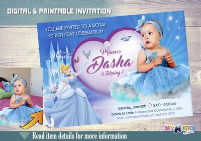 Cinderella 1st Birthday Invitation with your baby princess as part of the fantasy. Baby Cinderella invitations. First Birthday Princess. 261