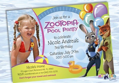 Pool Party Zootopia Invitation with the photo or your child. 054