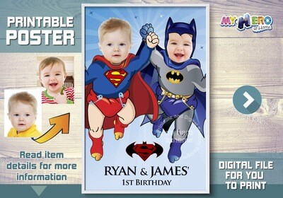 Super Babies Custom Poster. Turn your baby boys into Superman and Batman for their unique poster. Babies Superheroes Custom Poster. 363