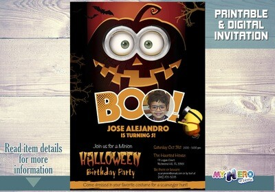 Minions Halloween Birthday Invitation for Boys. 048