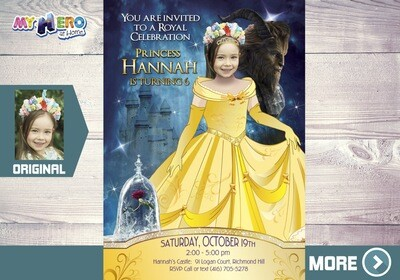 Princess Belle Invitation. Beauty and the Beast Birthday Invitation. Princess Belle Themed-Party. Princess Belle Birthday Invitation. 249