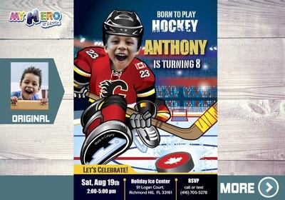 Calgary Flames Invitation. Calgary Flames Birthday Party. 300