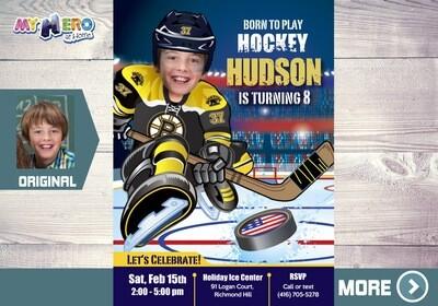 Boston Bruins Invitation. Boston Bruins Birthday Party. 324