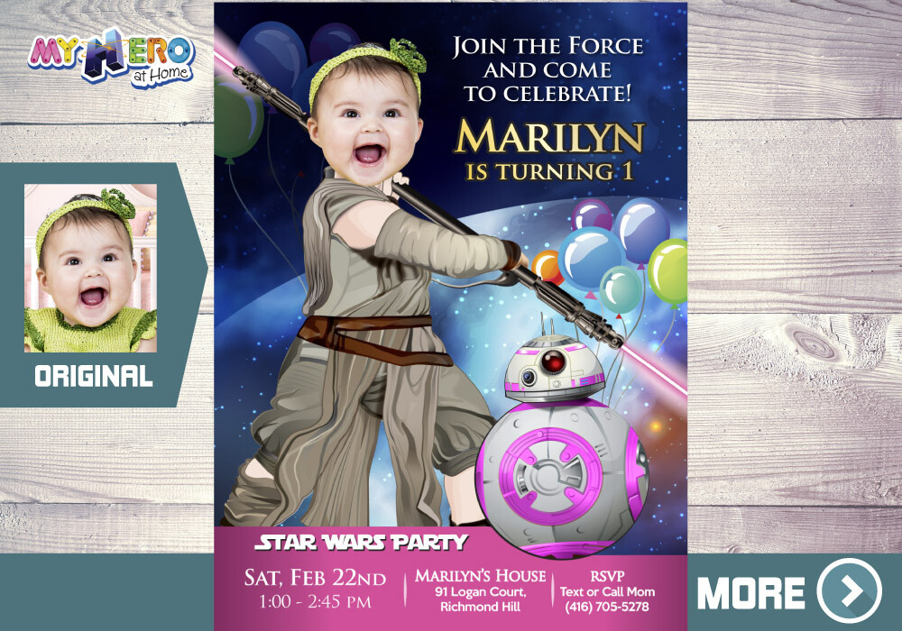 Jedi Rey 1st Birthday Invitation. Star Wars Baby Girl 1st Invitation. Turn your baby girl into Jedi Rey. First Birthday Jedi Rey. 413