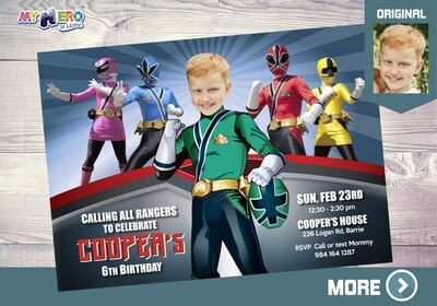 Green Power Rangers Invitation. Power Rangers Birthday Invitation. 414