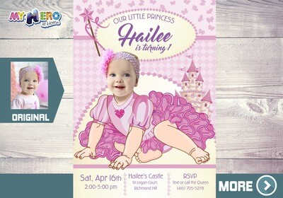 Princess 1st Birthday Invitation. Baby Princess Party. Princess 1st Birthday. Princess first invitation. Baby Princess Party Ideas. 244