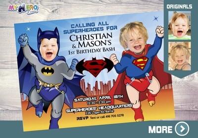 Superman and Batman 1st Birthday. Super Baby Twins Invitation. Baby Batman and Baby Superman Party Ideas. Super Babies Party. 065