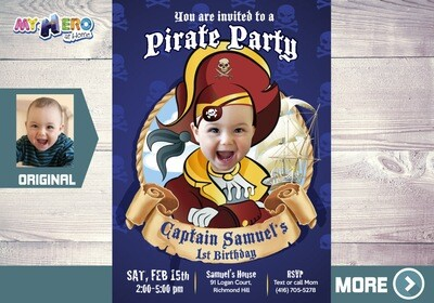 Pirate Party Invitation. Turn you boy into a Pirate for his custom pirate invitation. 225