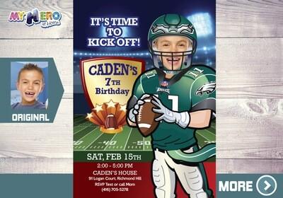 Philadelphia Eagles Invitation. American Football Invitation. 345