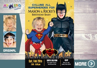 Superman and Batman Birthday Invitation. Joint Batman and Superman Invitation. Superman vs Batman Joint Party. Joint Superheroes Party. 066
