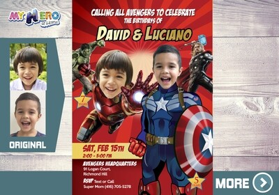 Joint Avengers Party Invitation. Captain America and Ironman theme party. Avengers Siblings Invitation. Avengers Party for 2 children. 079
