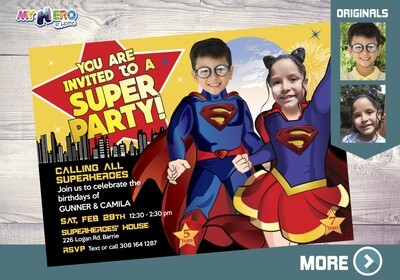 Supergirl and Superman Invitation. Siblings superheroes party. Superheroes Brother and Sister Birthday. Superman and Supergirl Party. 116