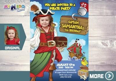 Pirate Invitation for Girls. Pirate Girl Party Invitation. 230