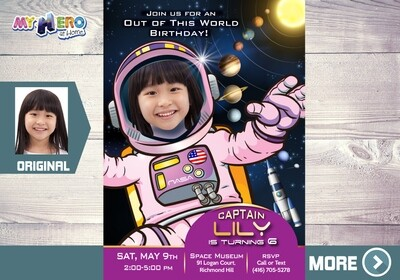Astronaut Invitation for Girls. Girly Astronaut Party. 376